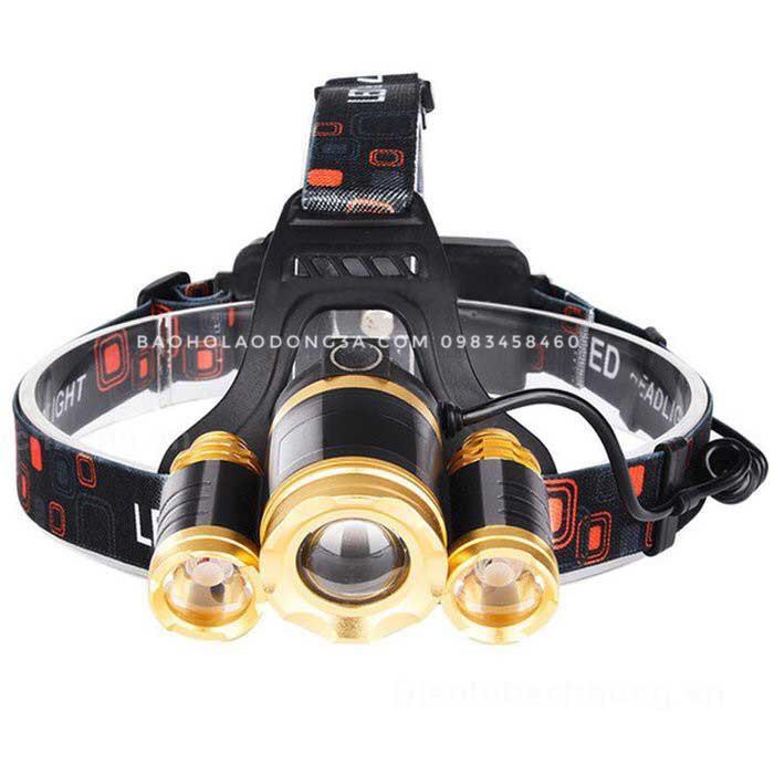 Đèn pin siêu sáng đội đầu 3 bóng E65 có ZOOM [dùng 2 pin 18650]